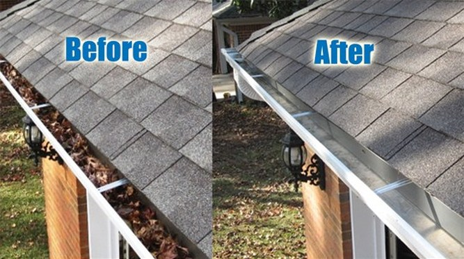 Before and after our gutter cleaning in Rockville, MD