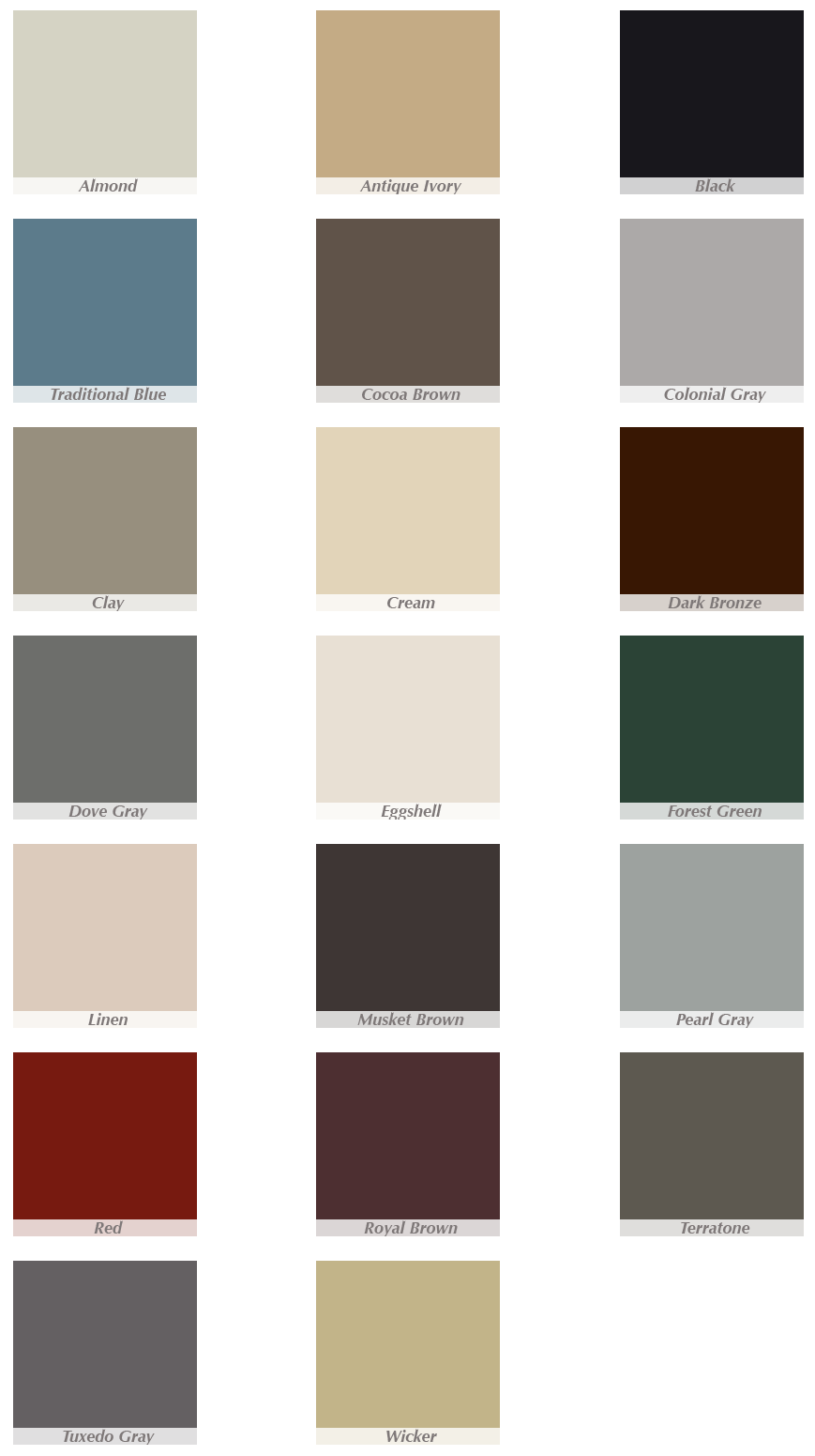 aluminum gutter color option chart