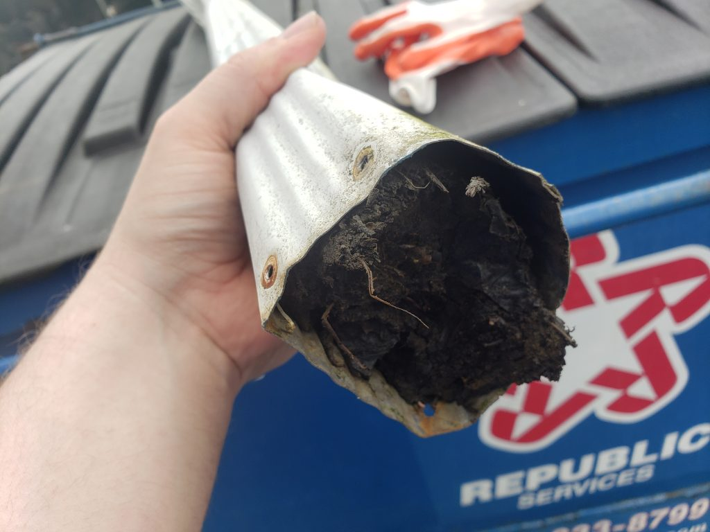 clogged downspout